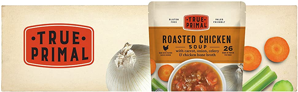True Primal Roasted Chicken Soup pouch and ingredients