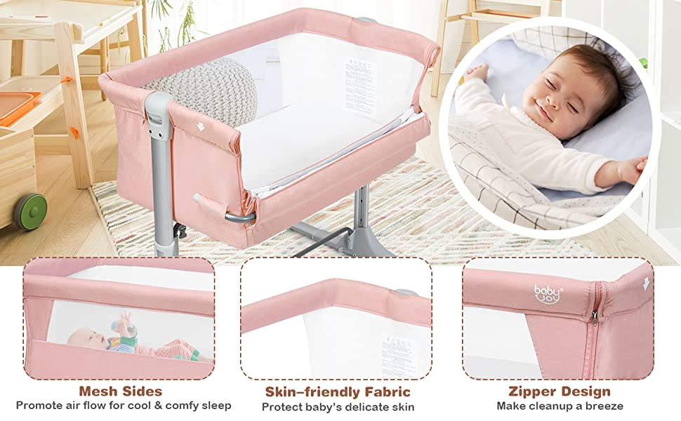 bedside crib with 2-sided breathable mesh, skin-friendly fabric, zipper design