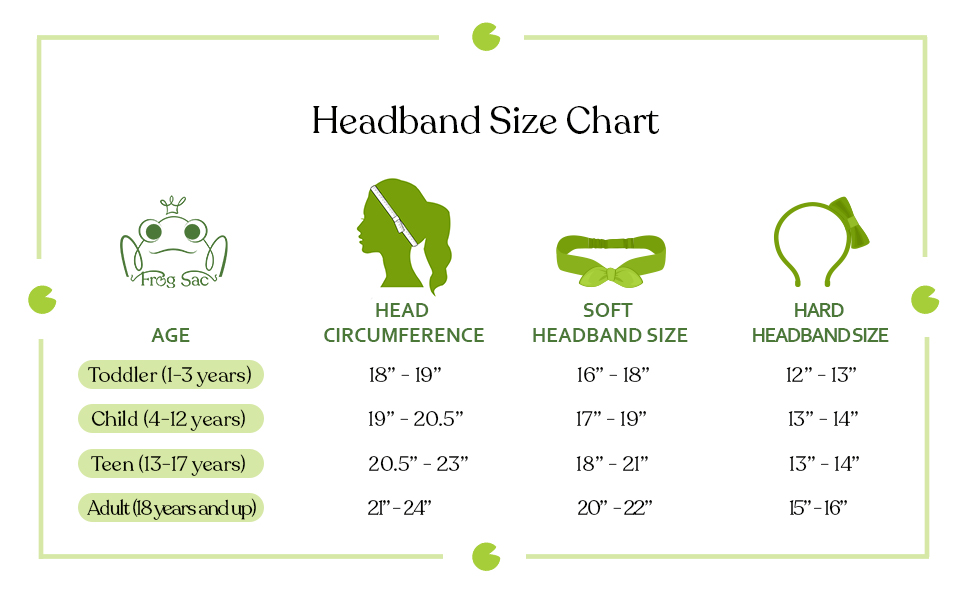 headbands head band bands headwrap size sizing chart guide