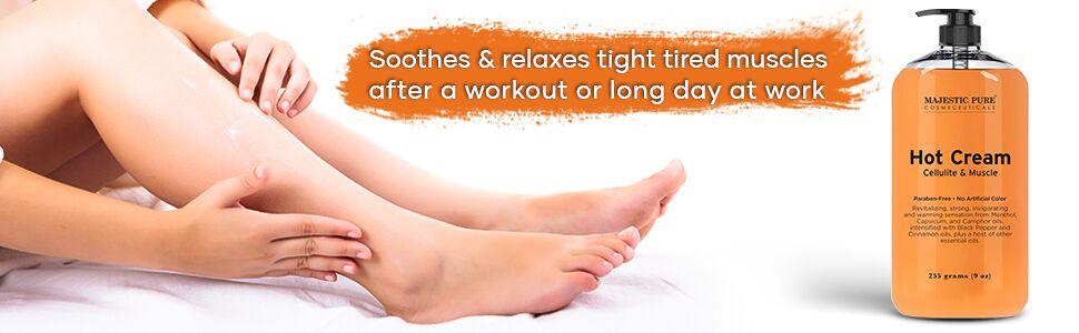 Majestic pure cellulite hot cream sore muscles natural organic cruelty free therapeutic