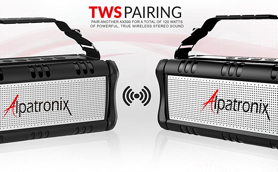 tws true wireless stereo pairing allows you to connect two AX500 speakers for a total of 120 watts