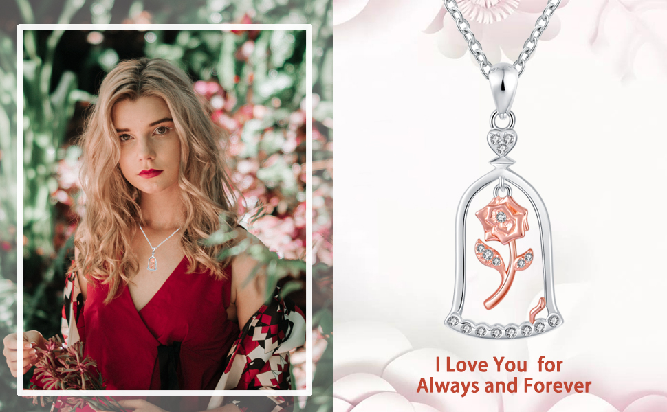rose pendant necklace for teens daughter granddaughter sister friend niece cousin
