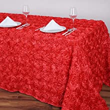 """Coral 90"""" x 132"""" satin raised rosettes tablecloth for event decorations"""