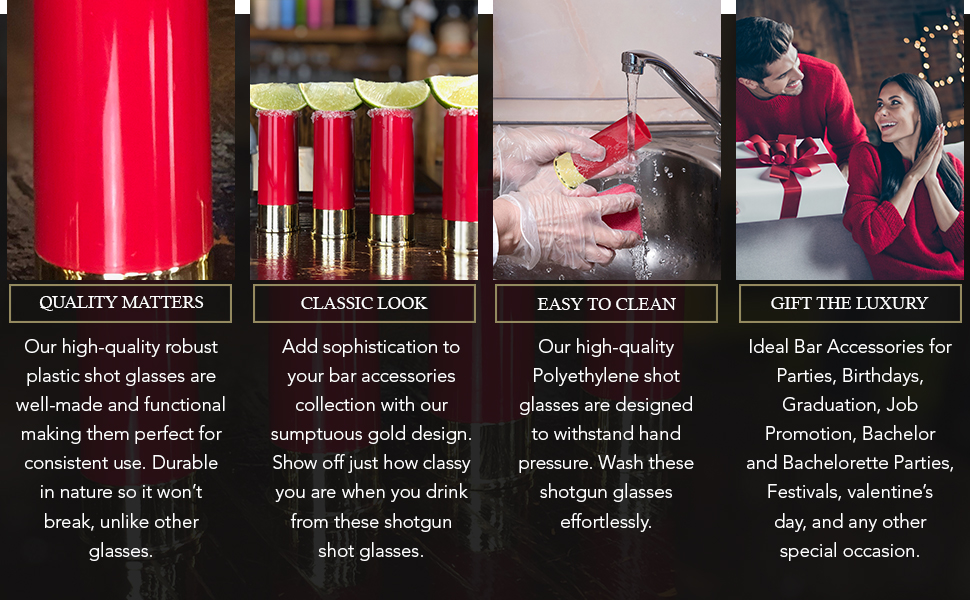 Our shot glasses are easy to clean, of premium quality and luxurious