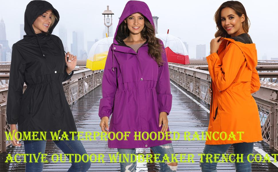 Women Waterproof Hooded Raincoat  Active Outdoor Windbreaker Trench Coat 2