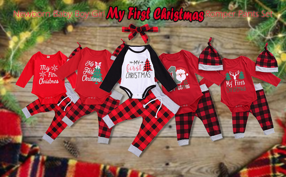 Newborn Baby Boys Gentleman Bowknot Romper Plaid Long Pant Christmas Outfit