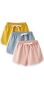 Adorel Pantalones Cortos Algodón Shorts para Niñas Pack de 3