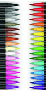36 Double Sided Brush Pens Fineliner Tips