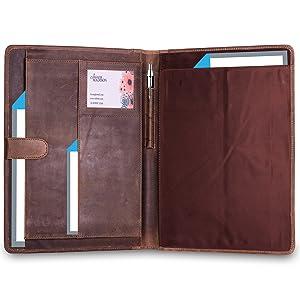 komalc leather portfolio folder documents office