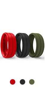 black red green silicone wedding rings bands rubber set manly boyfriend marine working out fitness