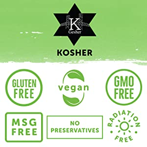 Kosher Gluten Free GMO Free Vegan MSG Free