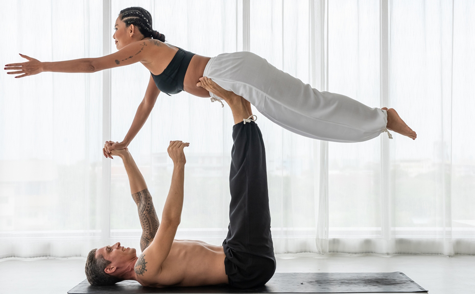 CandyHusky Mens Loose Fit Casual Summer Pajama Workout Tai Chi Yoga Pants Rayon