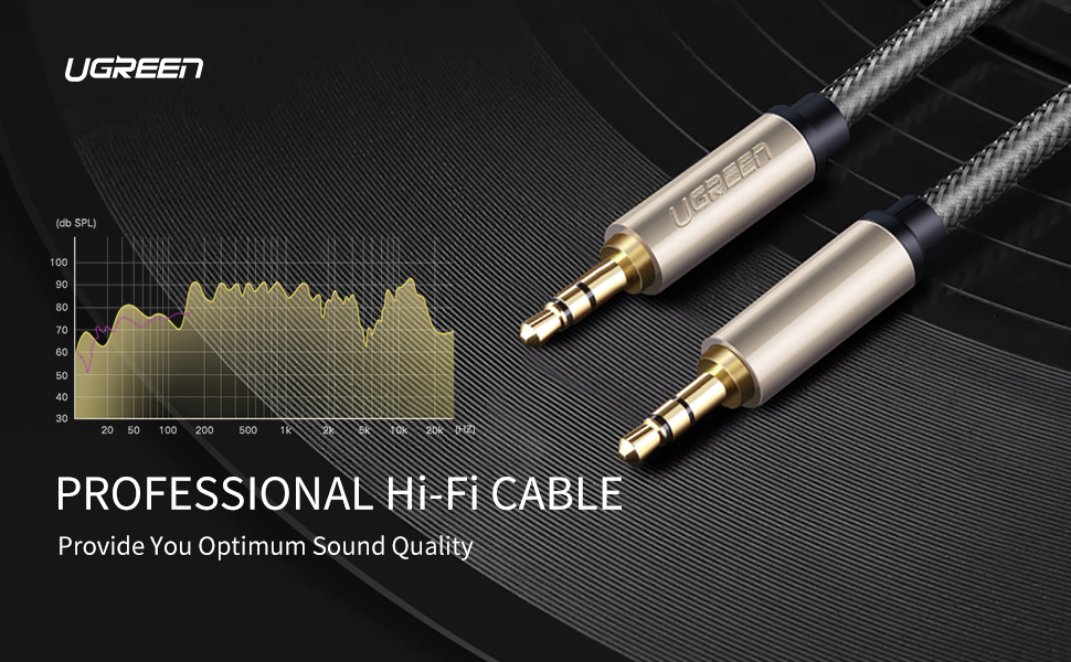 UGREEN 3.5mm Male to Male Auxiliary Aux Stereo Professional HiFi Cable