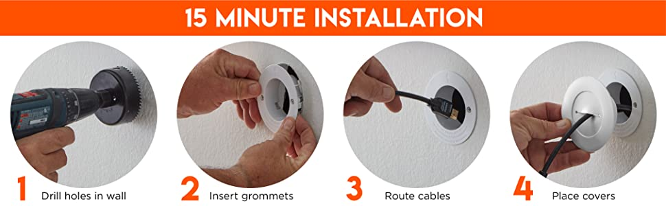 Wall plate cable pass through drywall double gang tv wall pass through single gang grommet white