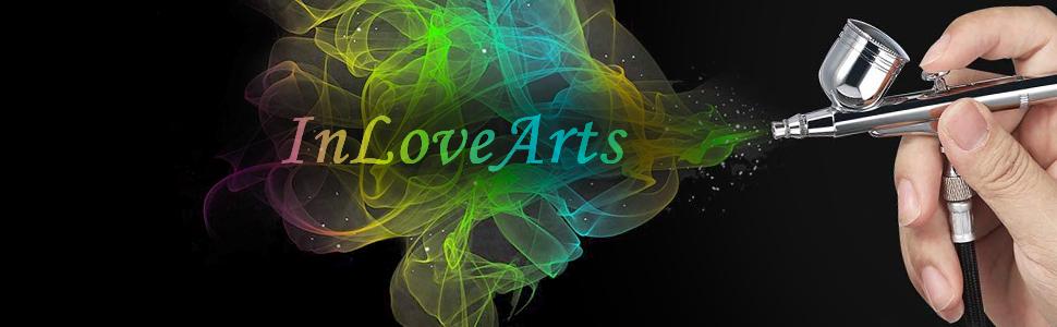InLoveArts Mini kit de aer/ógrafo Aer/ógrafo port/átil multiprop/ósito Kit de compresor de aire Kit de pintura para pintura corporal para modelo belleza arte pintura tatuaje artesanal pastel