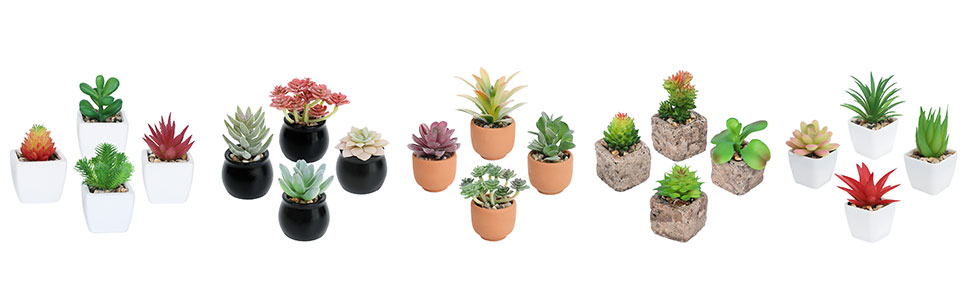 potted artificial succulents