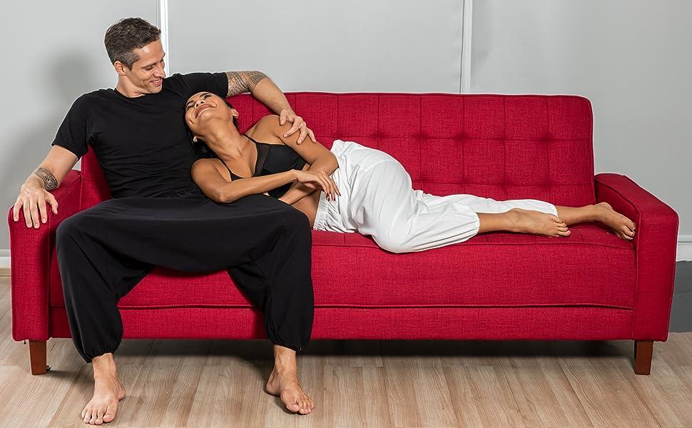 mens womens black flowy baggy cotton lounge summer dance hippie boho harem yoga pants for men women
