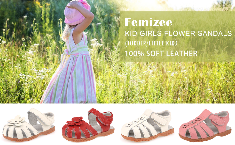 Femizee Girls Genuine Leather Soft Closed Toe Princess Flat Shoes Summer Sandals