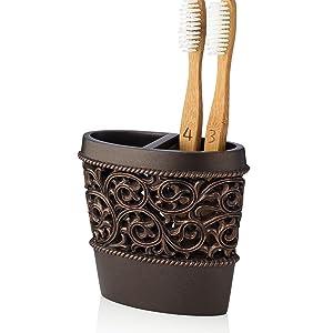 bronze toothbrush holder, brown, bathroom accessories, home, decor,