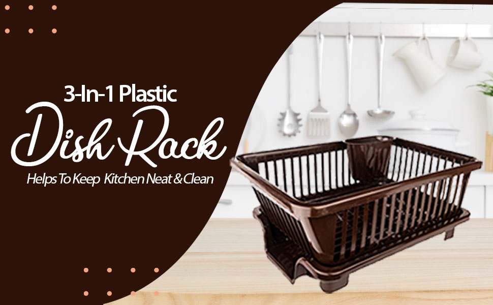 Large Durable Plastic Kitchen Sink Dish Rack Drainer Drying Rack Washing Basket with Tray SPN FOR 1