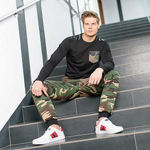 BOLF - Pantalon Jogger de Sport Camo Homme 6F6