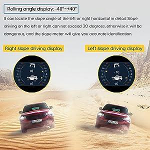 Car Inclinometer, Multifunction Level Tilt Gauge Indicator Gradient Angle Slope Meter Balancer Tool