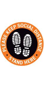 Please Keep Social Distance Floor Stickers - Orange