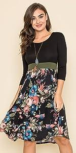 3/4 Sleeve Black Floral Olive Band Curved Hem Midi Dress_Plus…