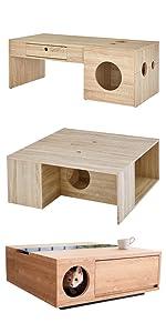 猫家具 ネコ家具 ねこ家具 キャットインテリア テーブル コーヒーテーブル リビングテーブル ローテーブル センターテーブル ひきだし 木目調 キャットウォーク 猫雑貨 ねこ雑貨 キャットタワー