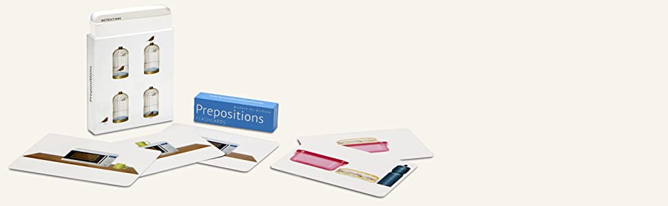 Image of flashcards in front of box with lid off.