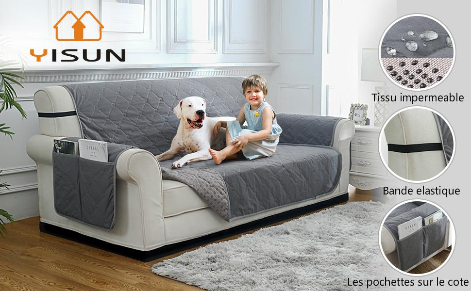 YISUN Housse de Canap/é Matelass/ée Imperm/éable Couverture Protecteur de Fauteuil Sofa en Polyester Coton Housse pour Animaux Chien 1 Place, Beige