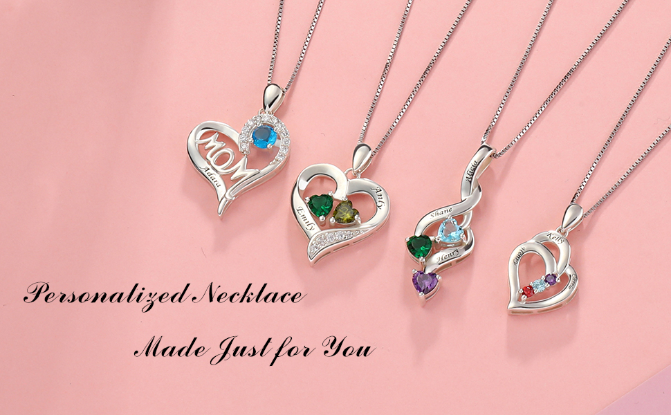 Sterling Silver Personalized Birthstones Necklace Engraved 2 Names for Couple Mother