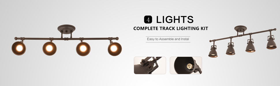 mirrea 30in Industrial Complete Track Kit 4 Lamp Shade Heads with GU10 Base Direction Adjustable