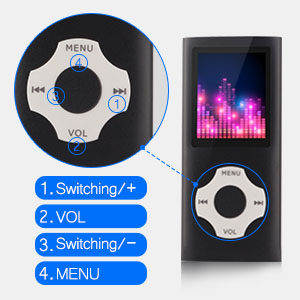 Tomameri - Portable MP3 / MP4 Player with Rhombic Button, Including a Micro SD Card and Support Up to 64GB, Compact Music, Video Player, Photo Viewer ...