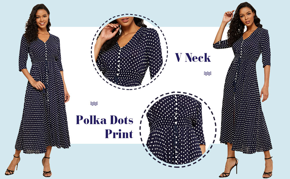 V Neck Half Sleeves Button Up Vacation Maxi Dress
