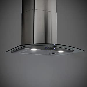 24 Stainless Steel Ducted Exhaust Vent 3 Speed Fan RecPro Curved Glass Range Hood Curved Tempered Glass LED Lighting 110V Electric Switch