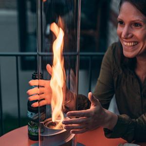 f/ür Garten hochwertige Bioethanol Gartenfackel SPIN 90 Silber aus Edelstahl inklusive Nachf/ülldose Terrasse und Camping h/öfats