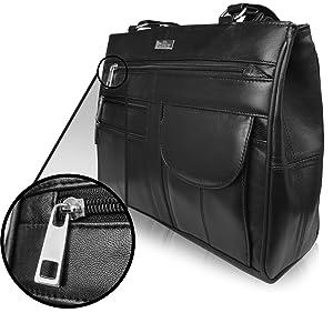 Handbag for a Lady top chrome metal zips Pu Faux Leather bottom