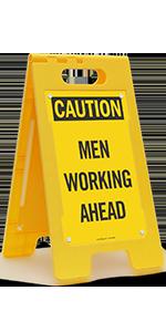 Caution Men Working Ahead, Folding Floor Sign, High-Impact Plastic