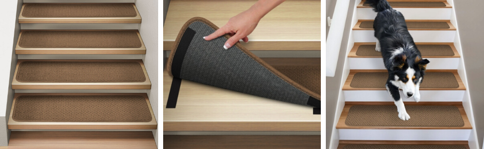 Attachable, Black, Carpet, Stair Treads, House Home And More, Binding, Rubber Backing, Hook and Loop