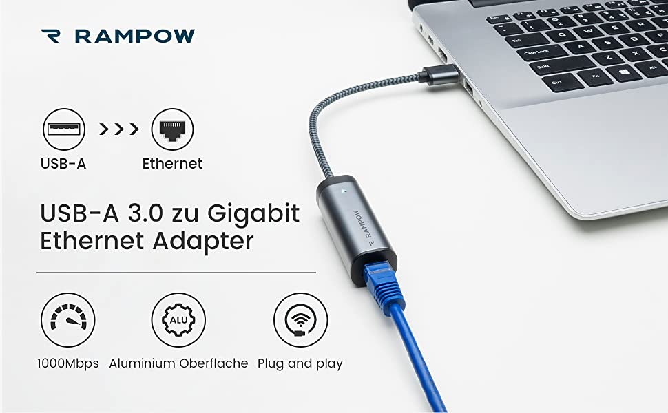 Windows 10//8.1//8 Linux kompatibel mit Microsoft Surface und mehr USB A 3.0 zu RJ45 Gigabit Netzwerkadapter kompatibel mit macOS 0,2m Grau RAMPOW USB A zu Ethernet Adapter and Chrome OS