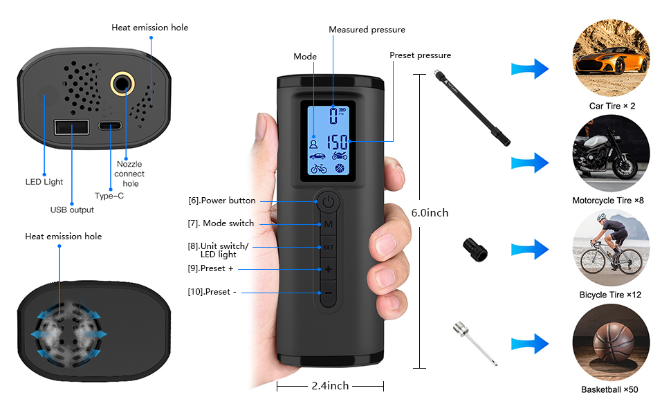 tire inflator portable air compressor with pressure gauge