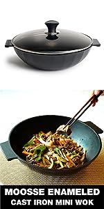 Mini wok induction small wok Korean wok Enameled cast iron mini wok stir-fry non stick induction
