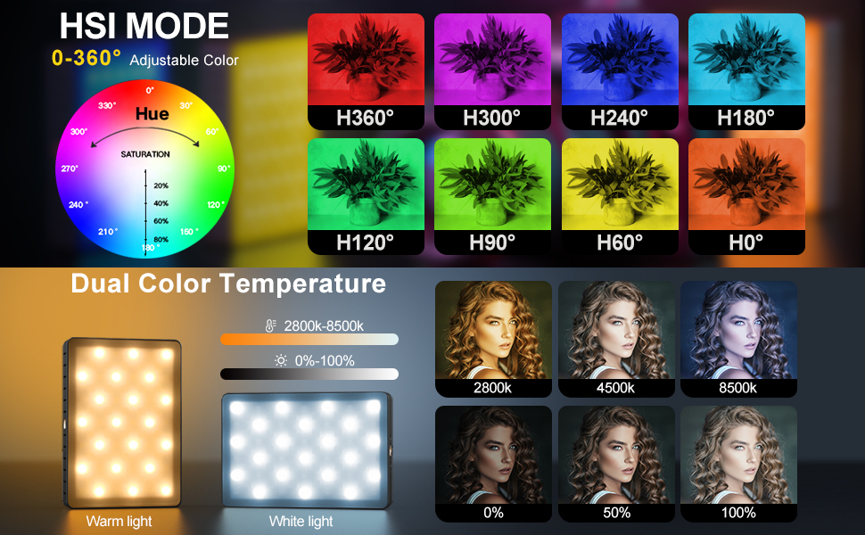 rgb video light for camera