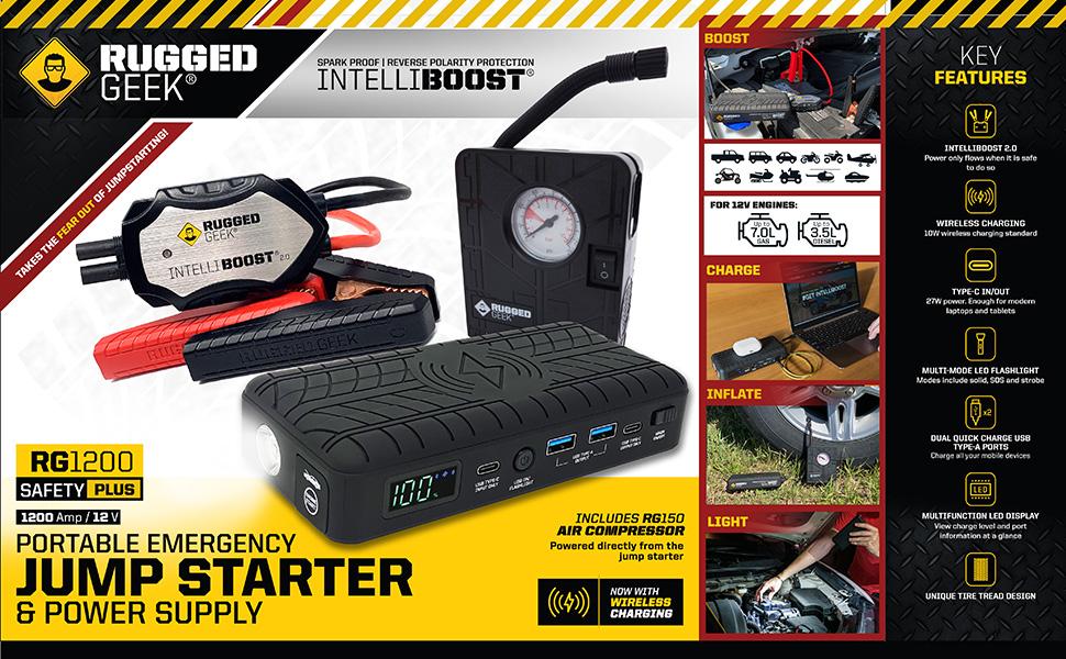 Rugged Geek RG1200 RG1000 Safety Plus Compressor Lithium Jump Starter Portable INTELLIBOOST WIreless