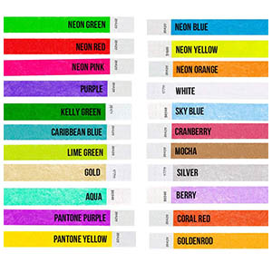variety neon pantone wristband metallic