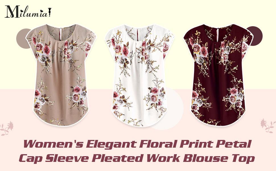 Milumia Women's Elegant Flower Print Cap Sleeve Pleated Office Work Blouse Top