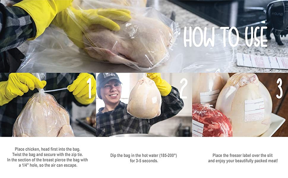 how to use poultry shrink bags, farm supply, meat bags, meat storage,