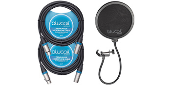 Blucoil Audio Microphone Pop Filter for Studio Recording, Balanced XLR Cables for Microphones