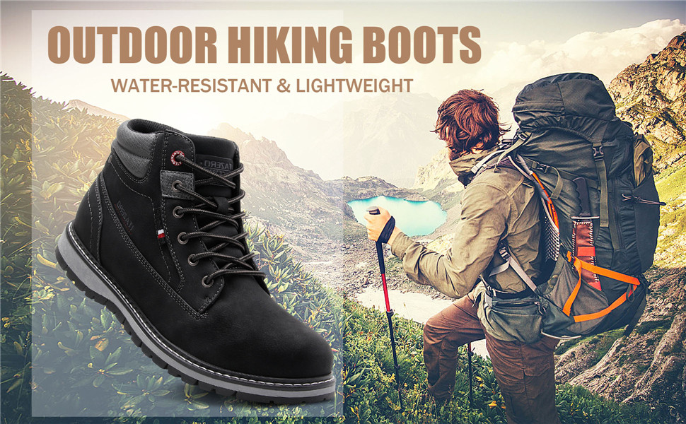Ankle Water Resistant Winter Snow Boots Insulated Leather Hiking Boots for Men